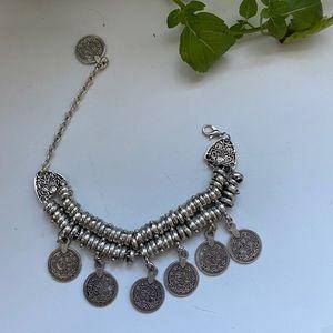 BOHEMIAN Silver Coin Bracelet